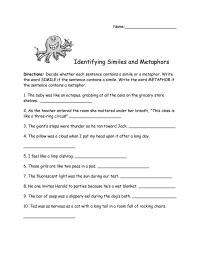 13 Best Images of Meaning Metaphor Worksheet - 6th-Grade ...
