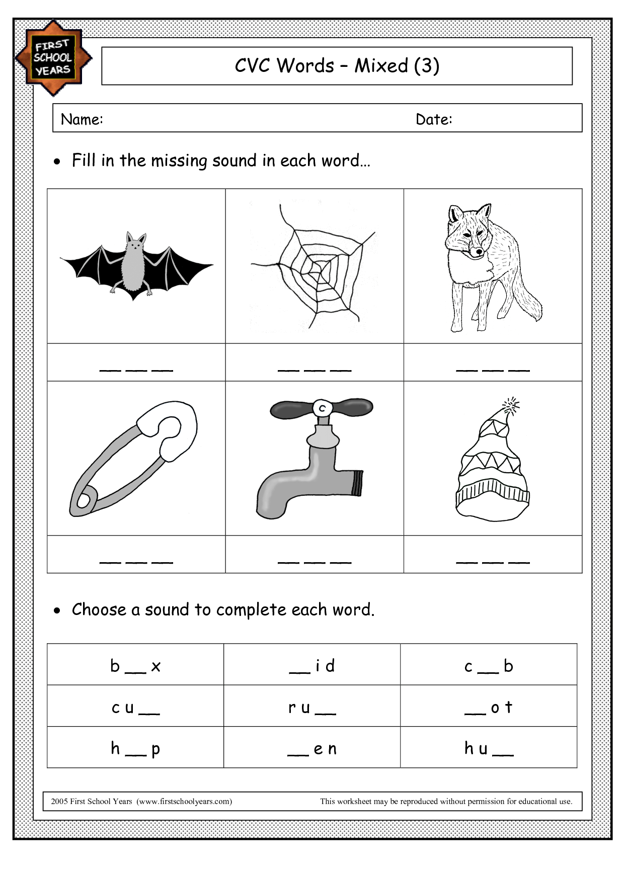 Free Cvc Worksheets For Preschoolers