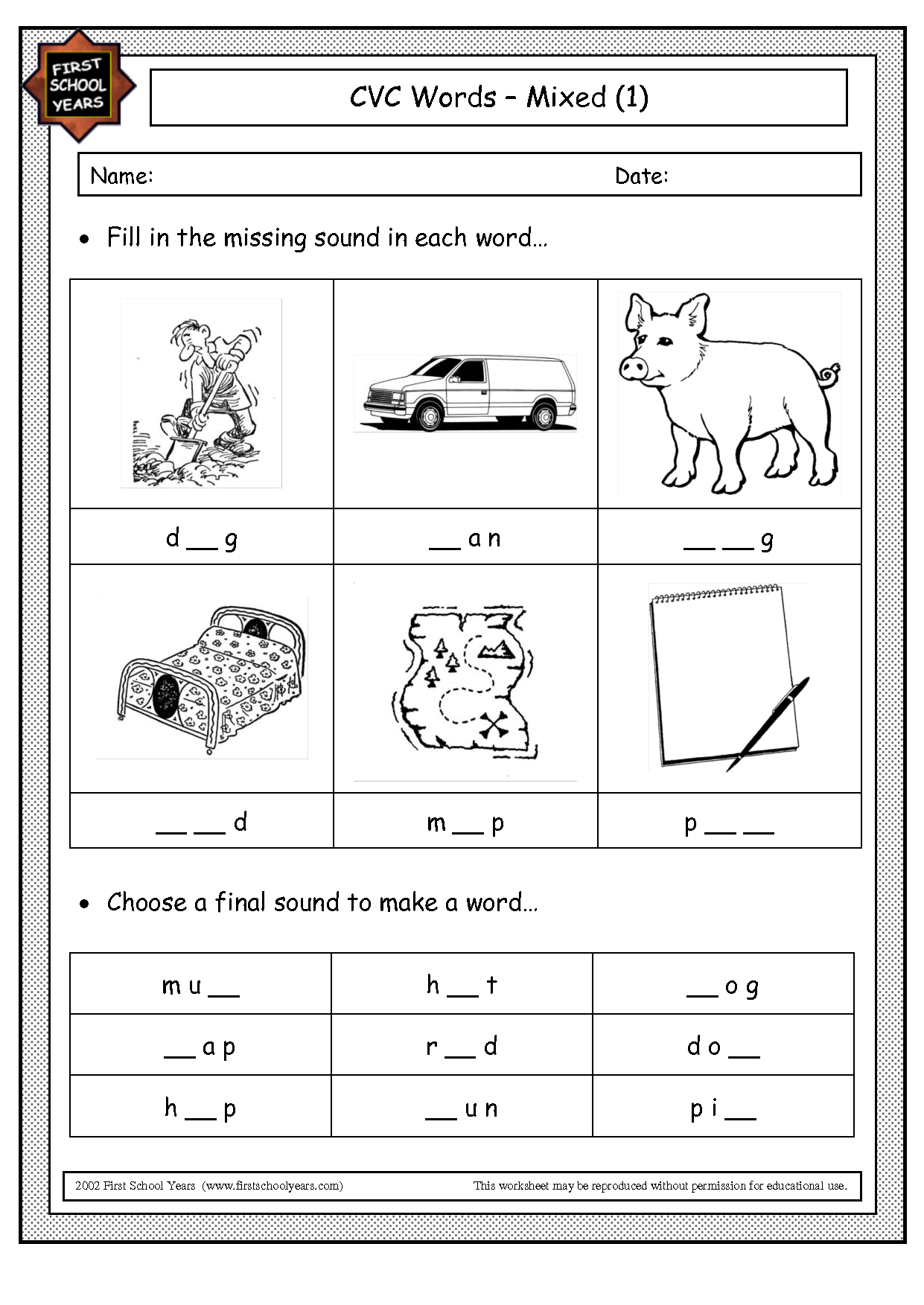 Cvc Worksheet Printable Pattern