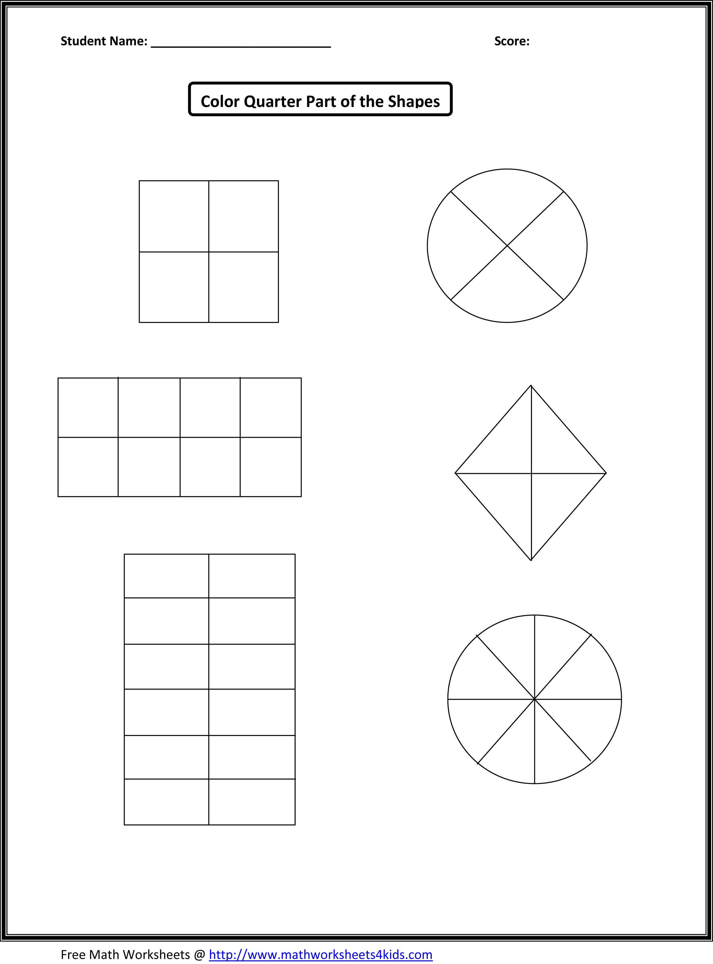 Basic Shape Fraction Worksheet