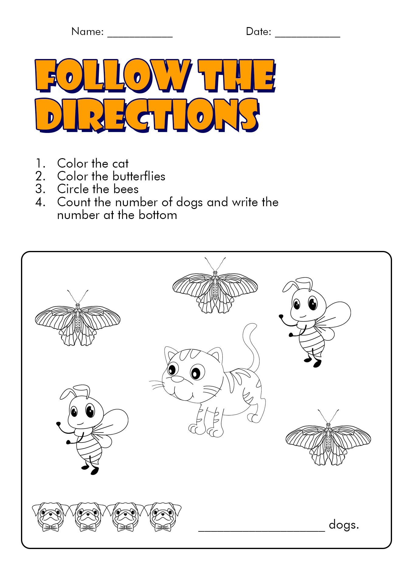 15 Best Images of Following Directions First Grade