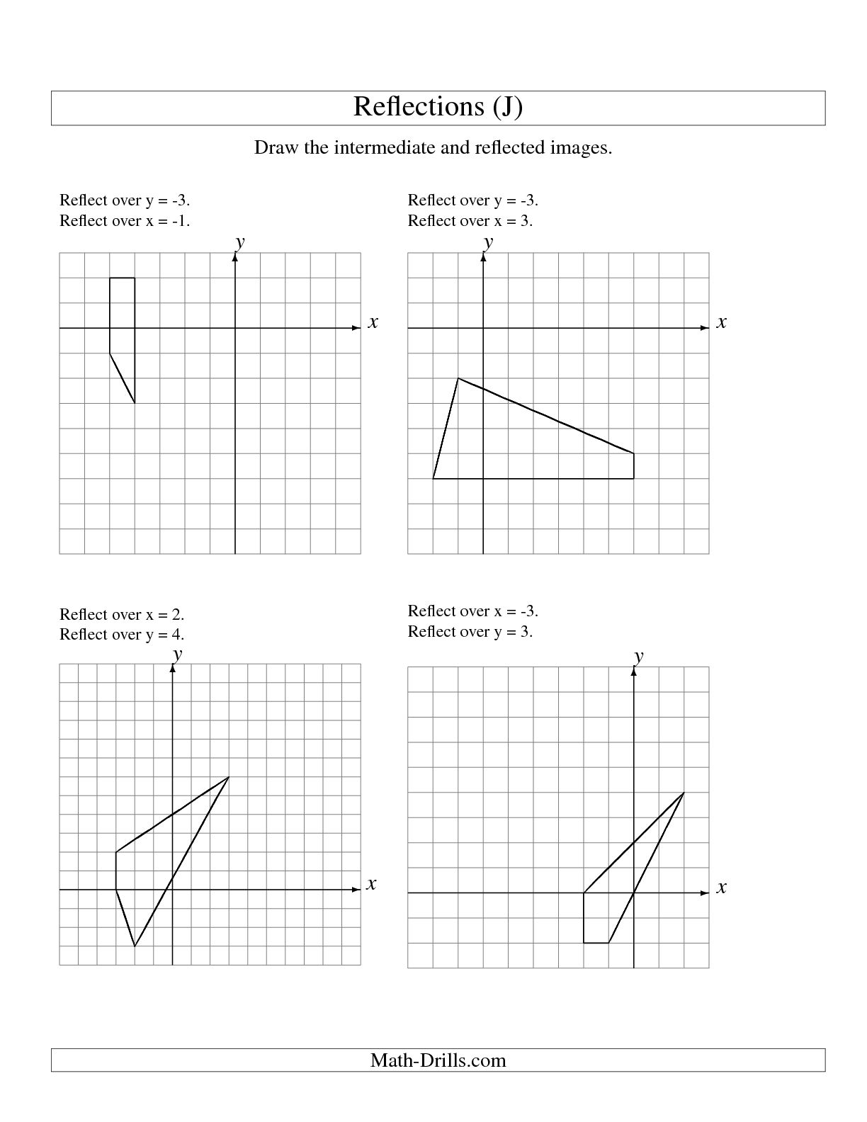 12 Best Images Of Reflection Math Worksheets