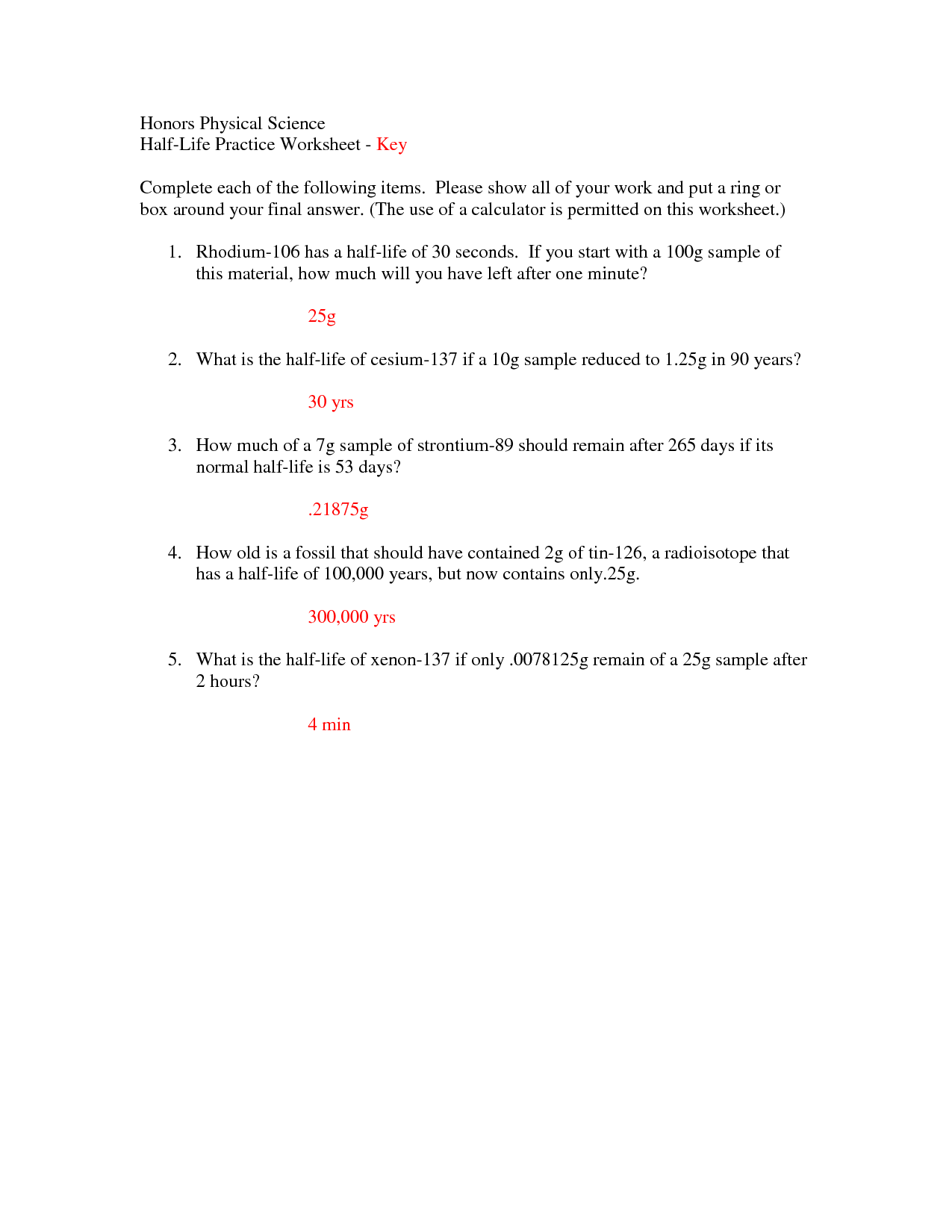 Half Life Worksheets