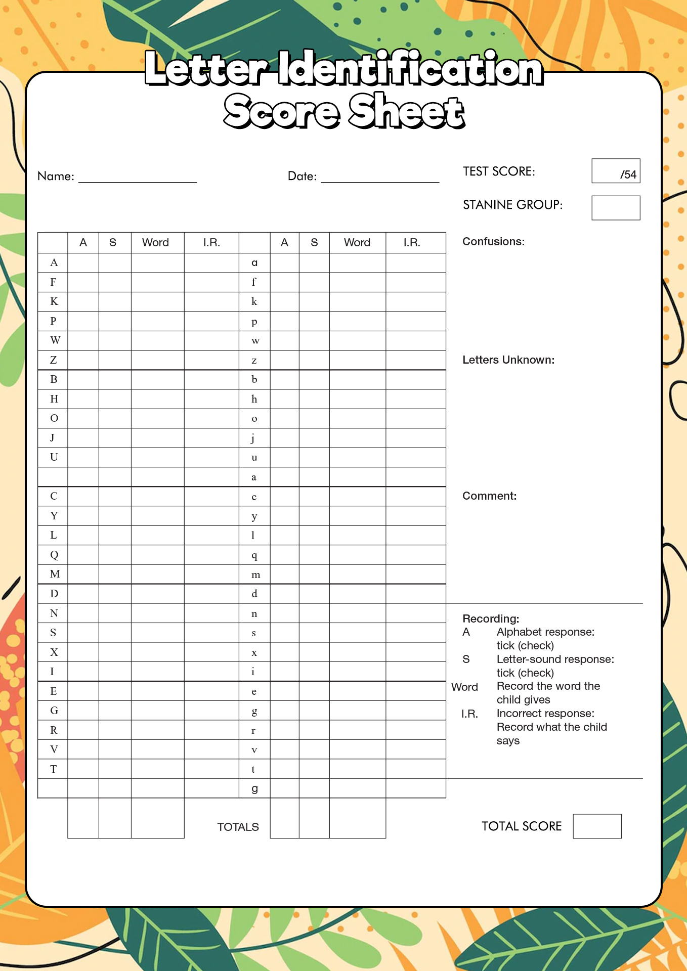 Worksheet Letter A Identification