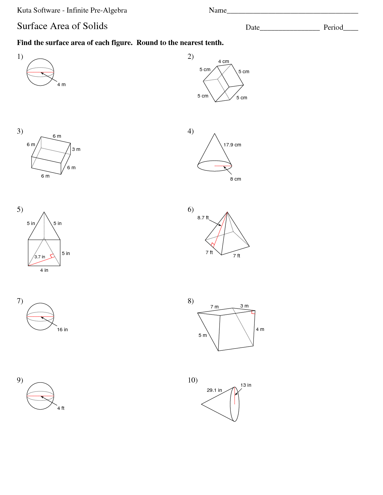 8th Grade Math Surface Area And Volume Worksheets