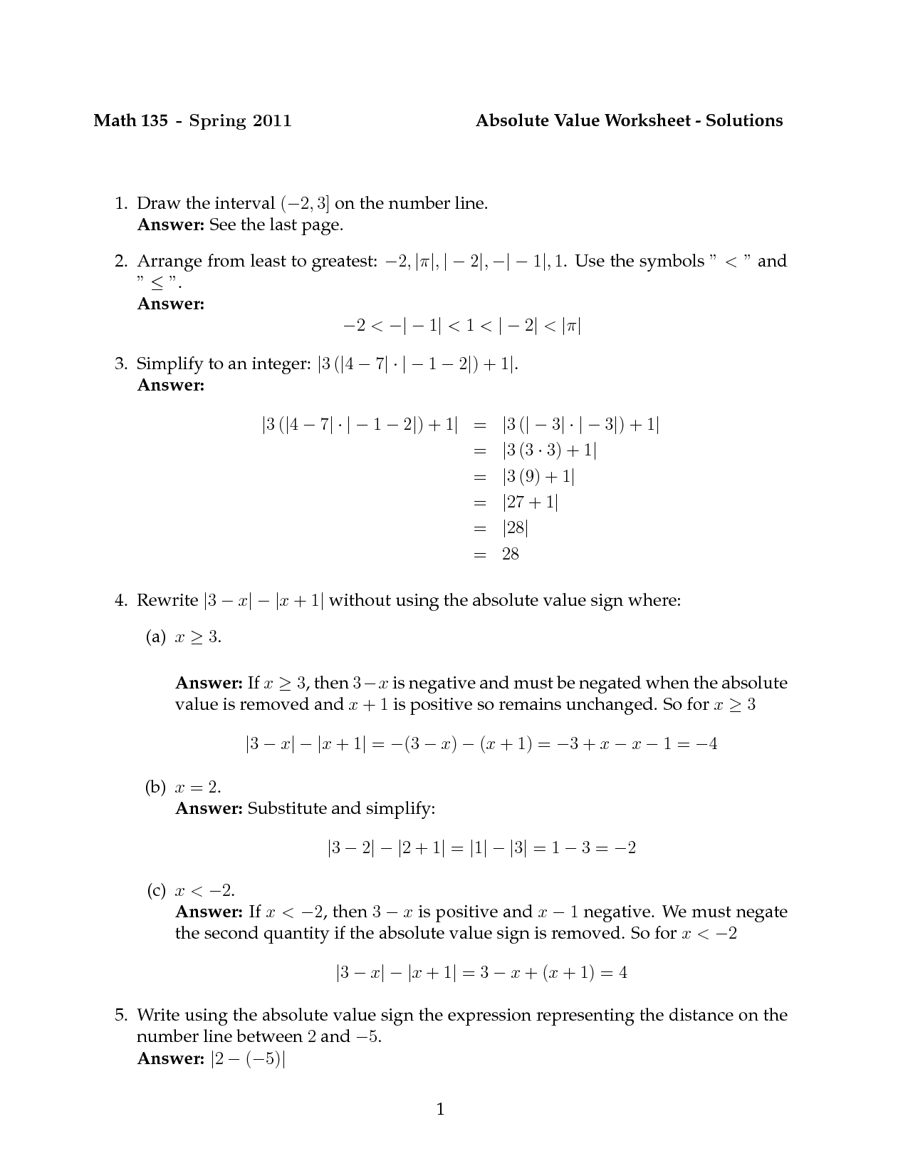 Mean Absolute Value Worksheet