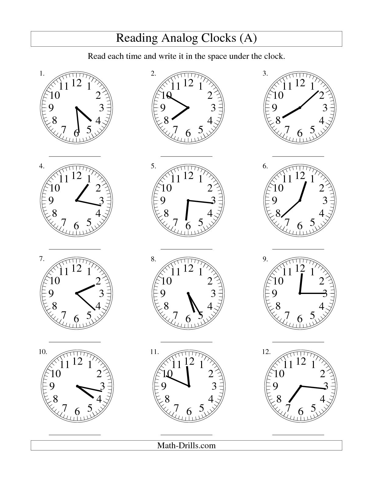 Worksheet Matching Clocks