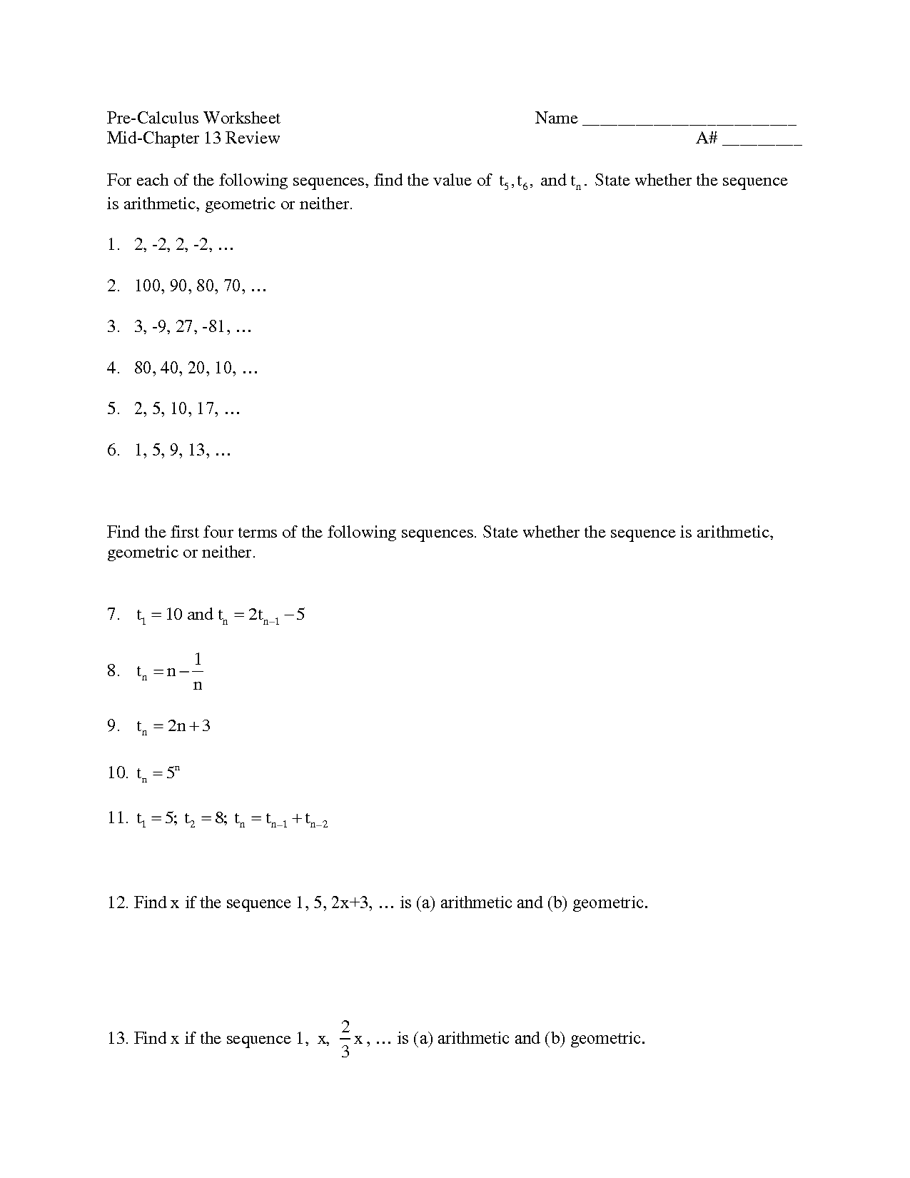 16 Best Images Of Pre Calculus Worksheets