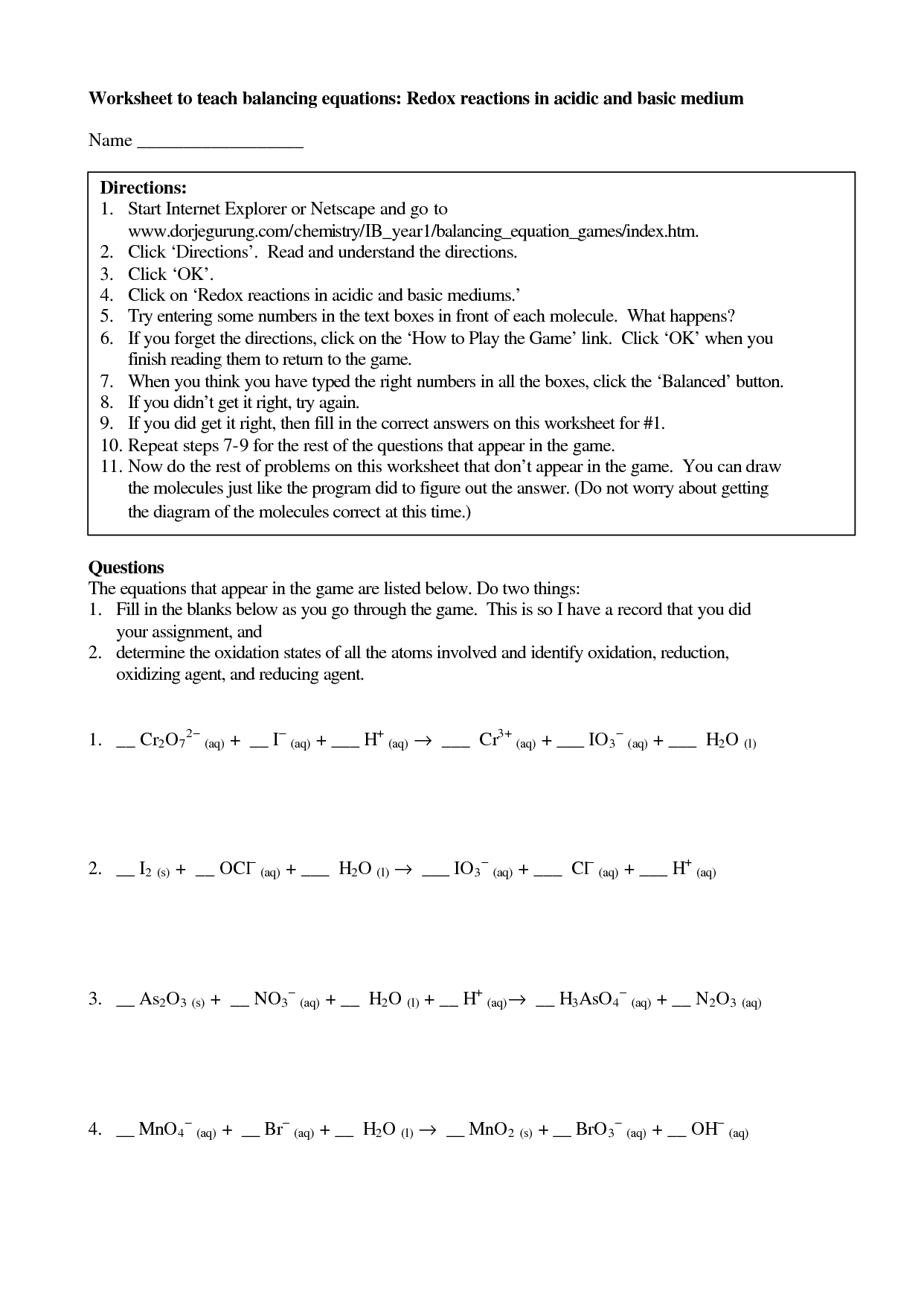 Worksheet Organic Redox Reactions