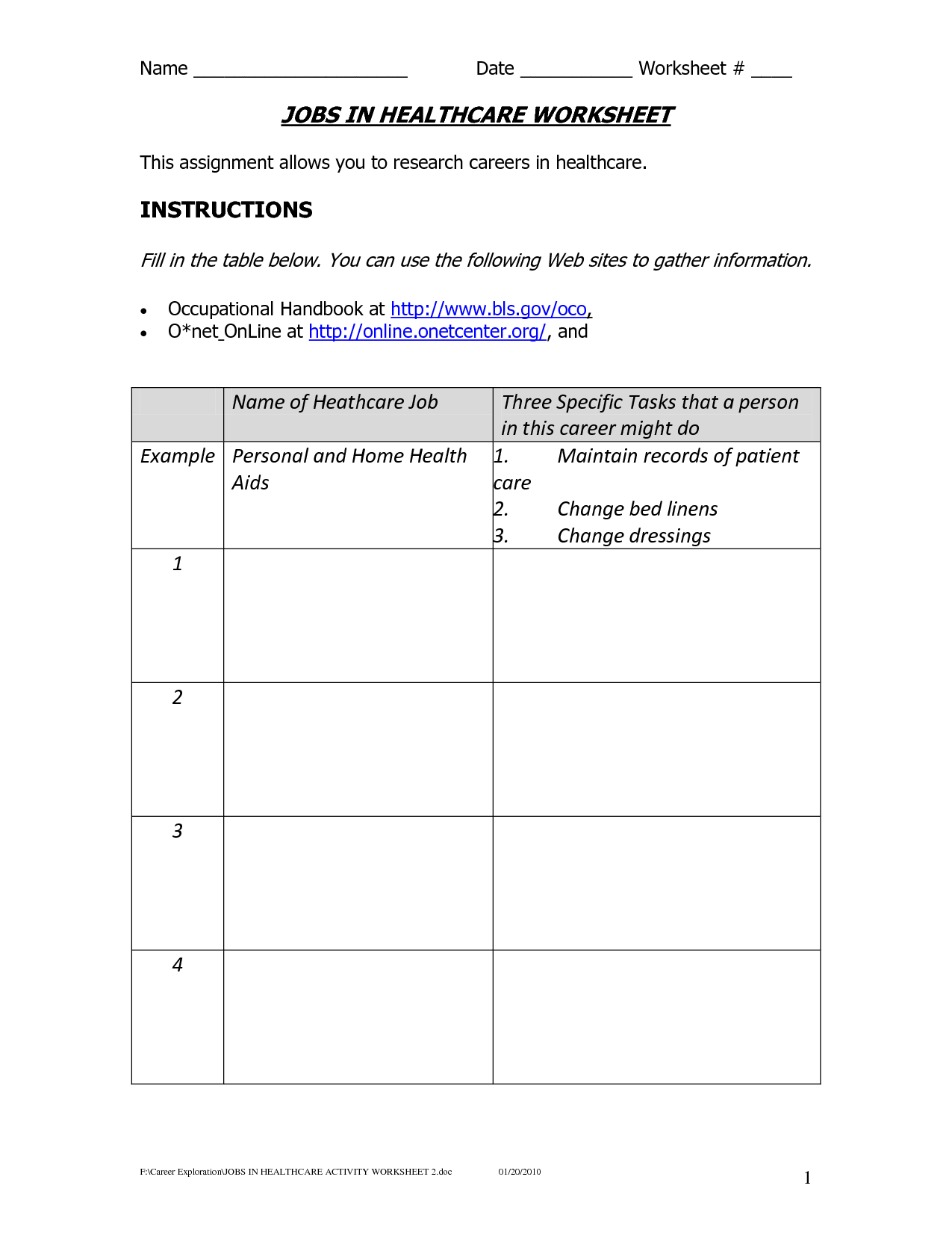 15 Best Images Of Elementary Career Worksheets For Students
