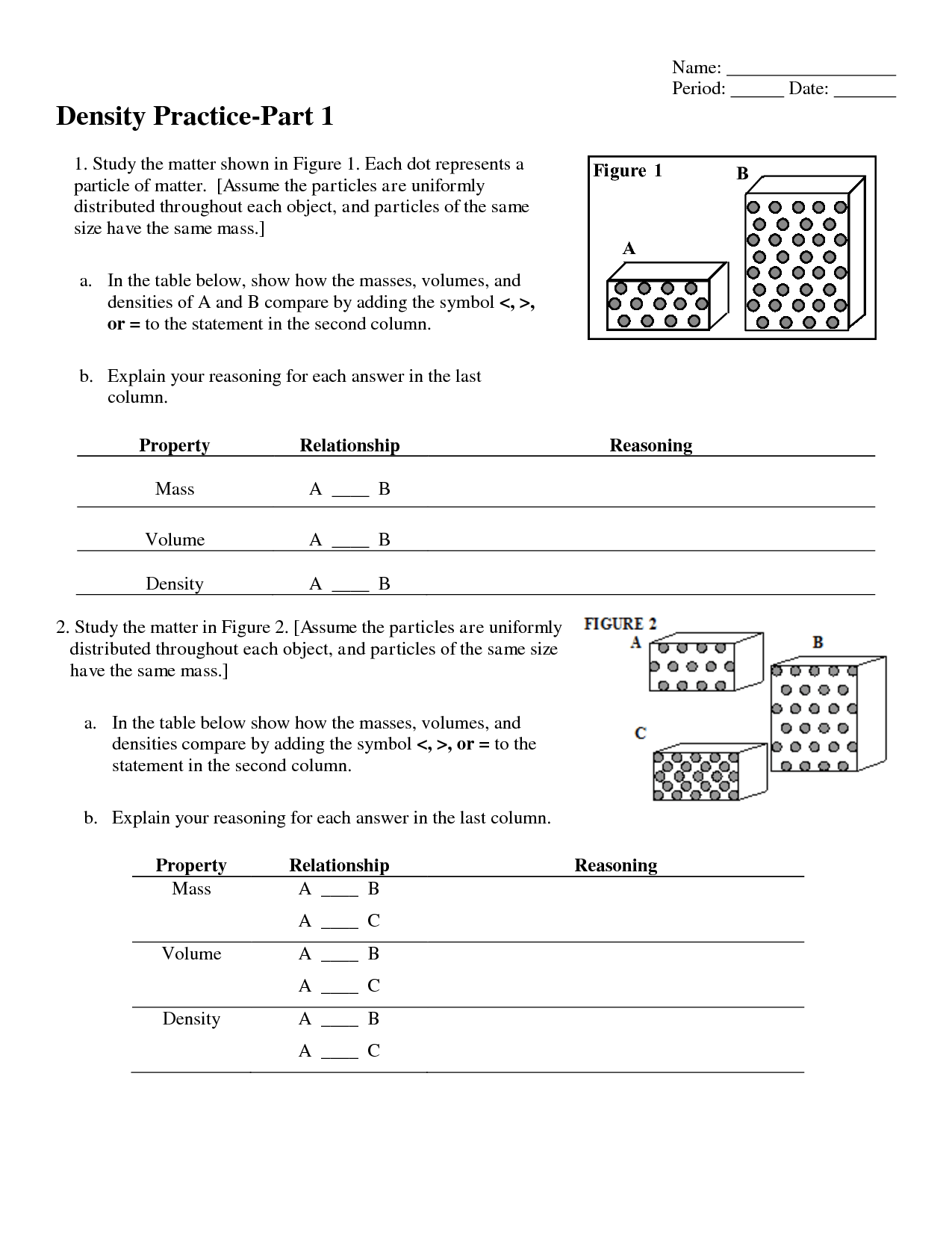 35 Chemistry Unit 1 Worksheet 3 Mass Volume And Density