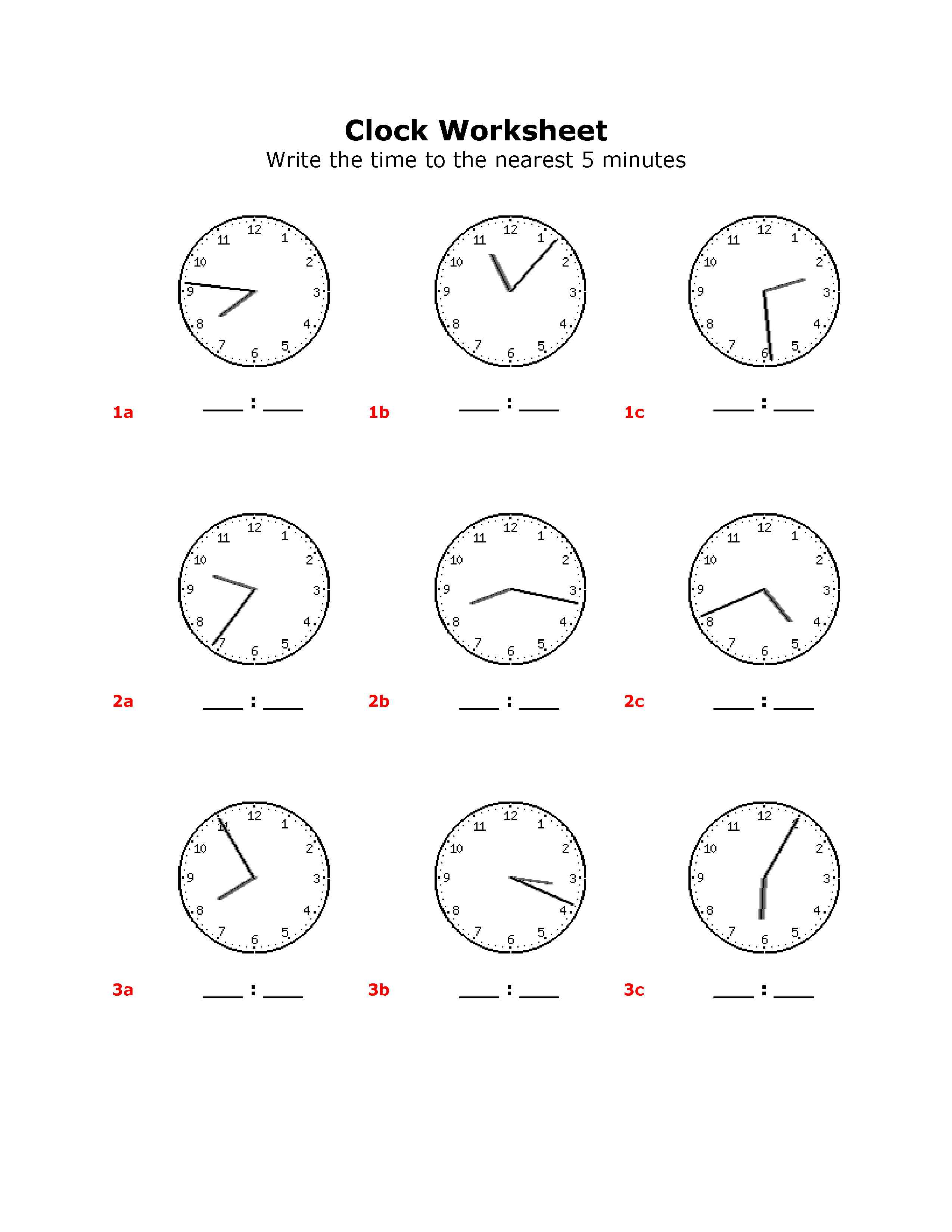 Pre Kindergarten Worksheet Clock