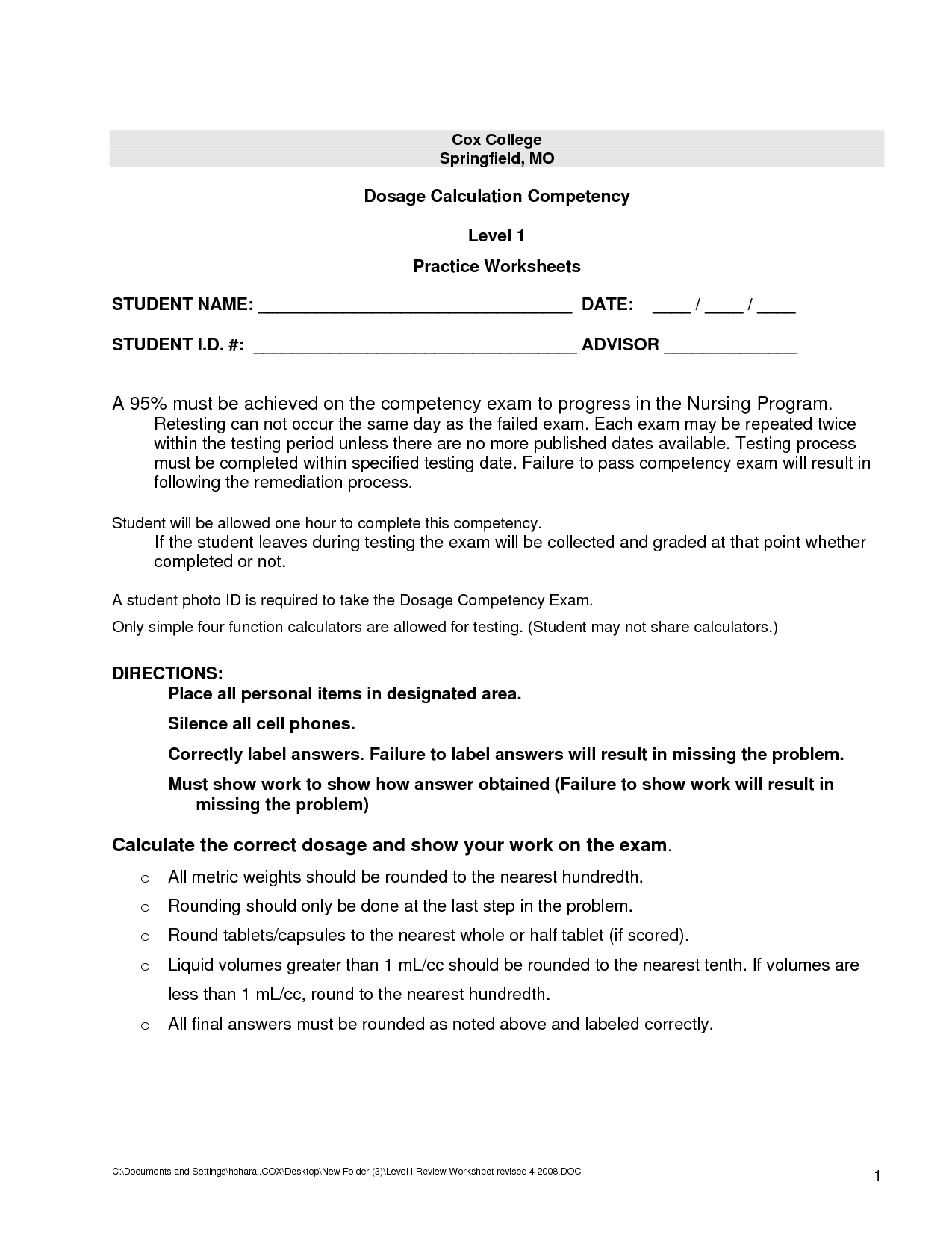 14 Best Images Of Worksheets For Nursing Class
