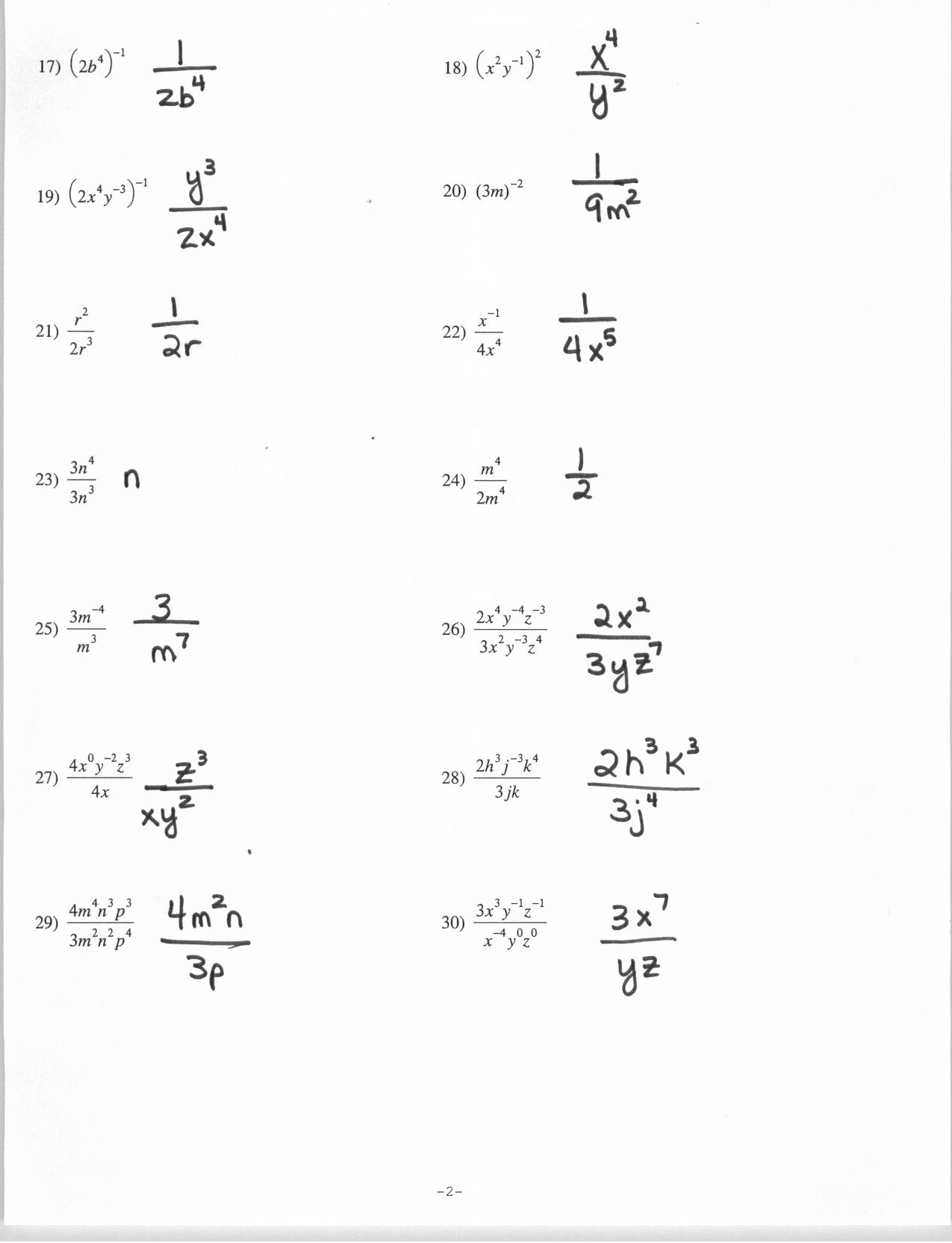 Worksheet Positive And Negative Exponents Worksheet