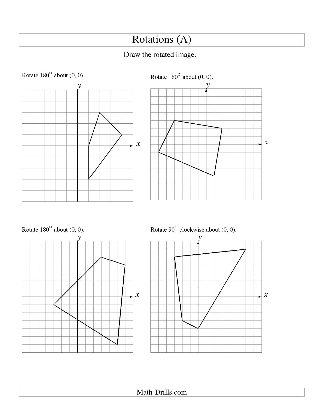 Geometry Translation Worksheet 8th Grade