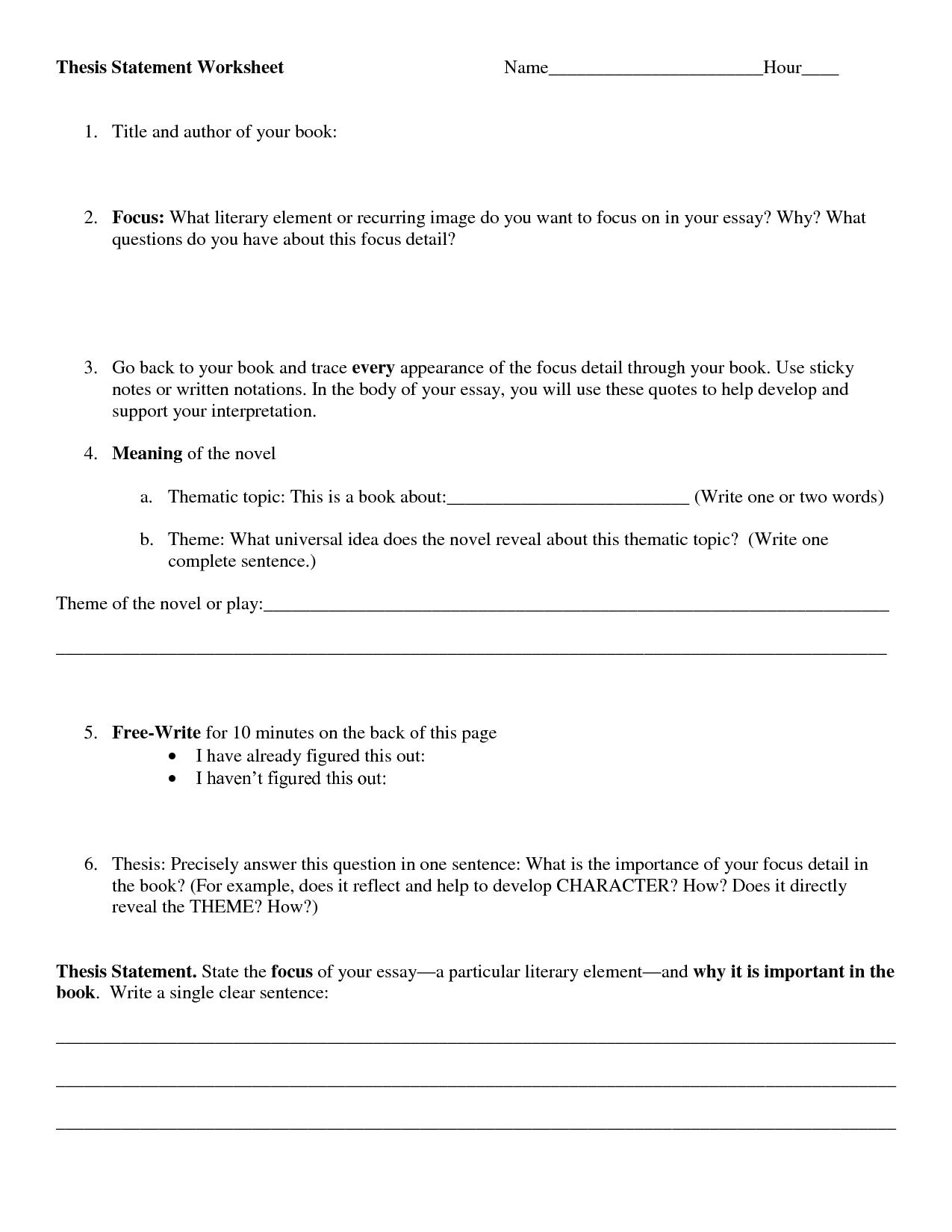 29 Identifying Thesis Statement Worksheet