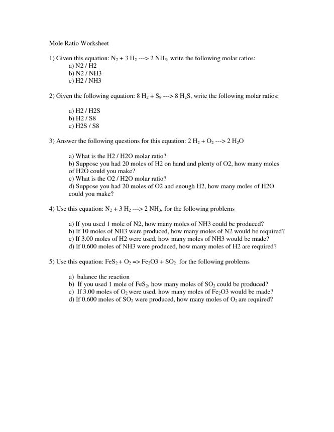 Mole Ratio Calculation Worksheet The Best Rat Of 2018