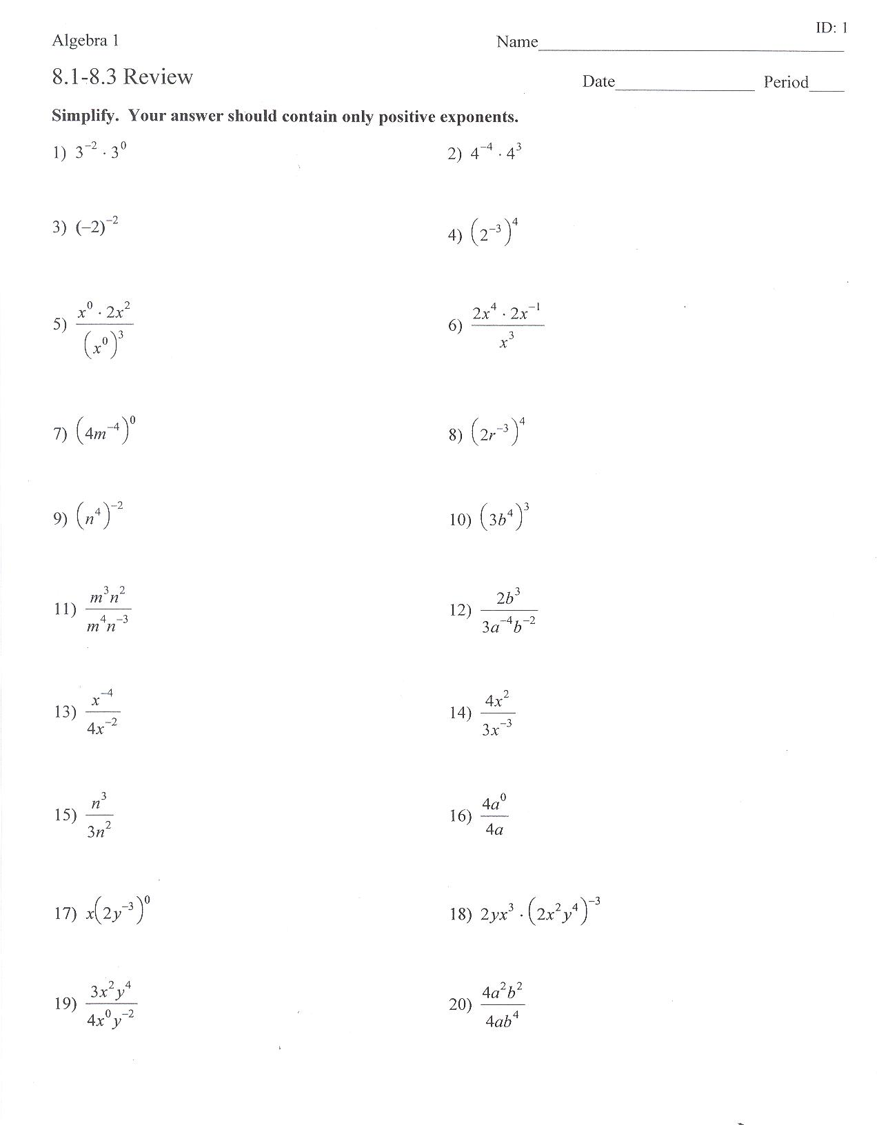 15 Best Images Of Exponent Rules Worksheet Exponents