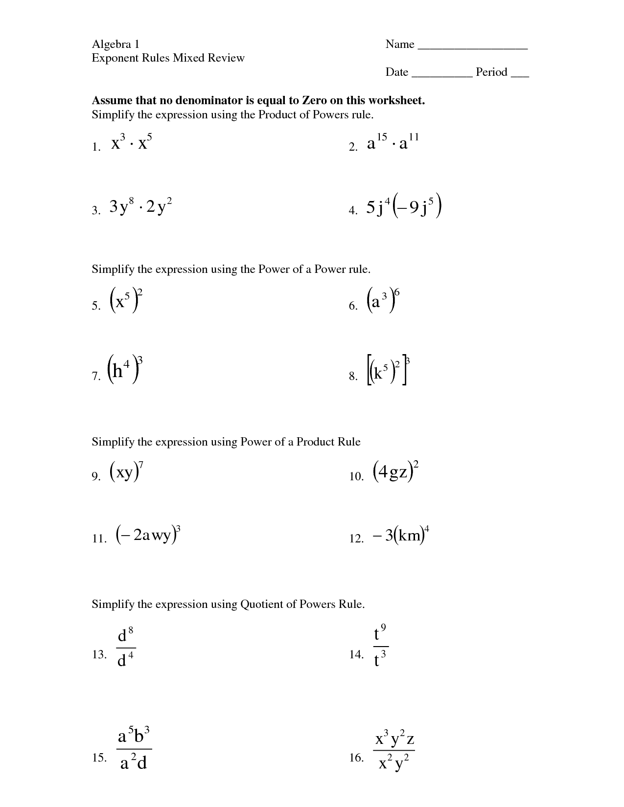 Practice Worksheet For Law Of Exponents Dividing Exponents Worksheets Free Power Of 10 Exponent