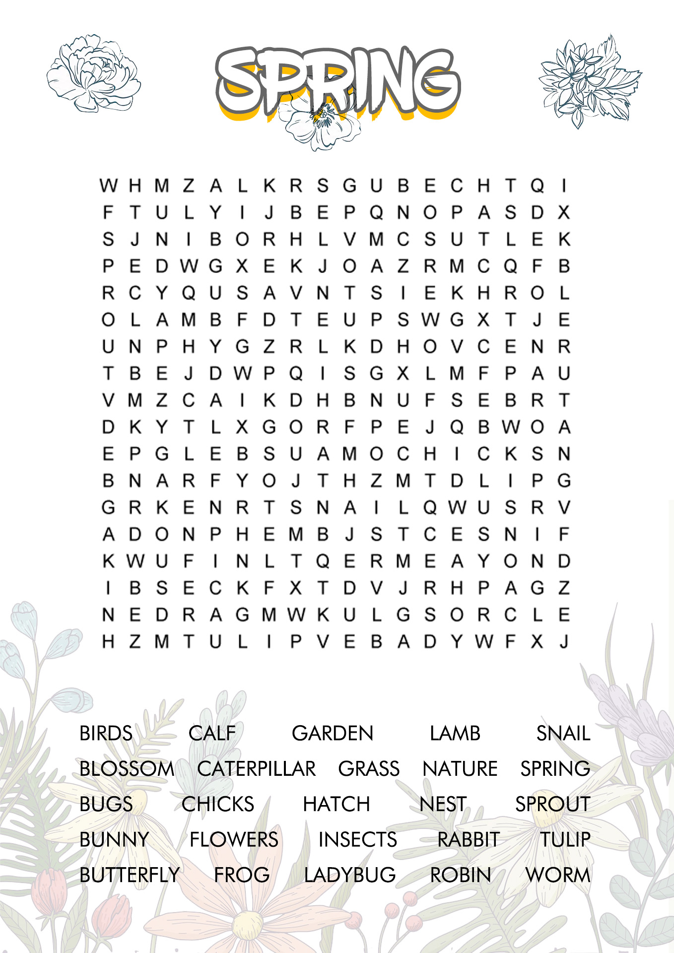 Word Search Worksheet Hard