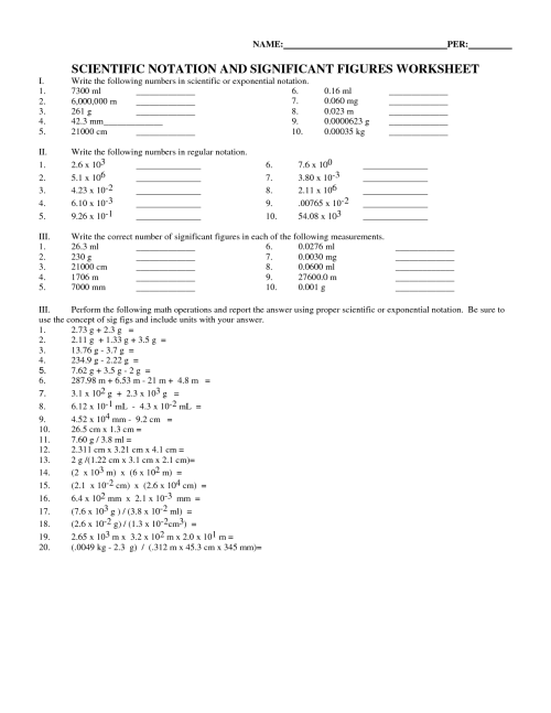 small resolution of Scientific Notation Basic Worksheets   Printable Worksheets and Activities  for Teachers