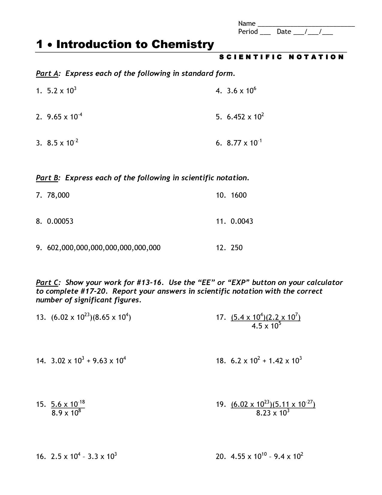 Math Worksheet Scientific Notation