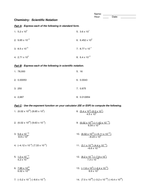small resolution of Scientific Notation Application Worksheet   Printable Worksheets and  Activities for Teachers