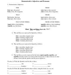 Demonstrative Pronouns Worksheets   Printable Worksheets and Activities for  Teachers [ 1650 x 1275 Pixel ]