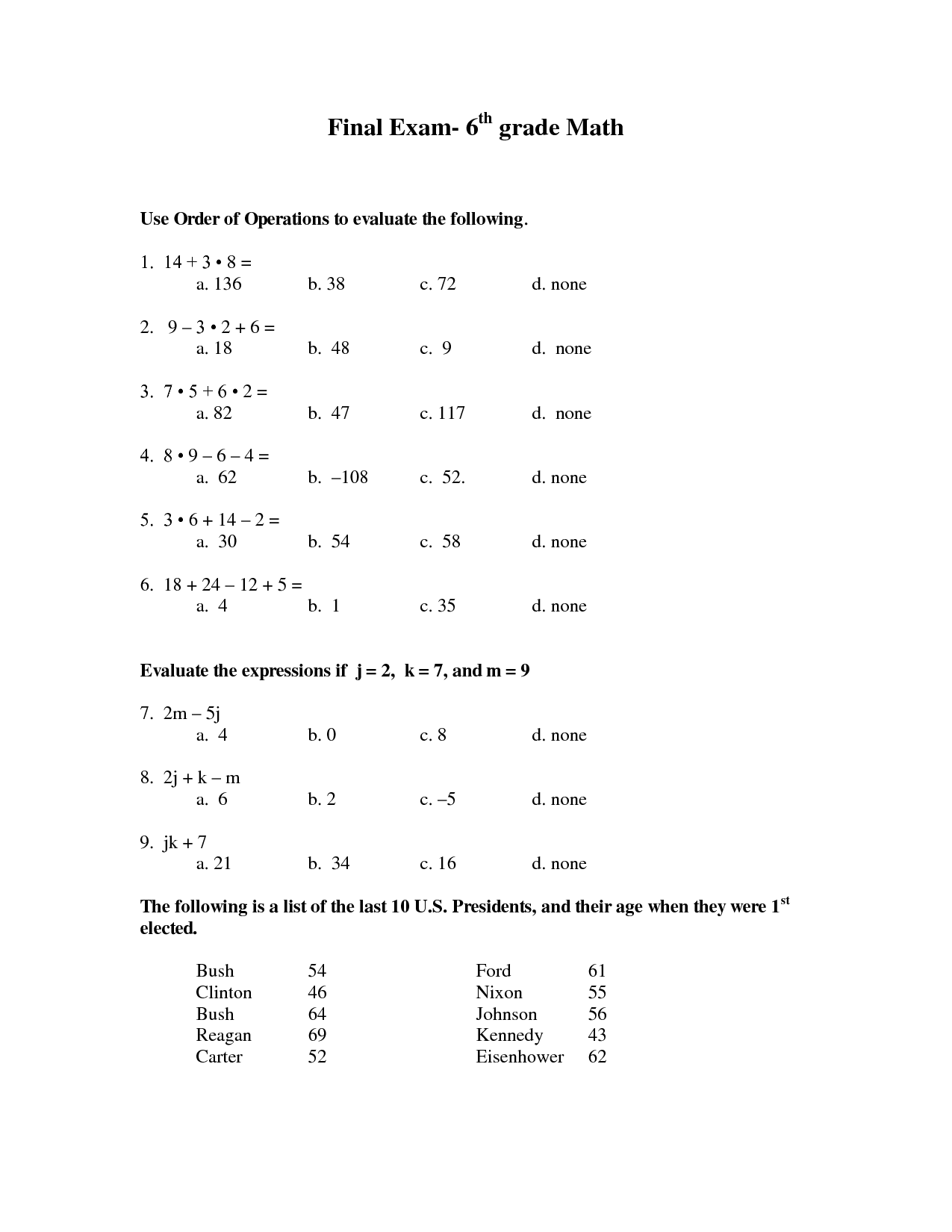7 Best Images Of 6th Grade Math Worksheets For Algebra
