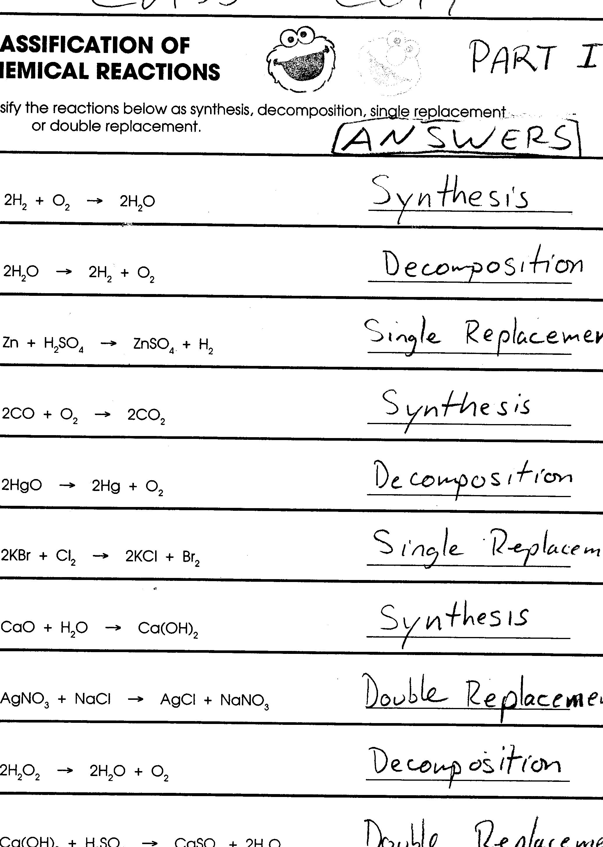 33 Chemical Reactions Worksheet Answer Key