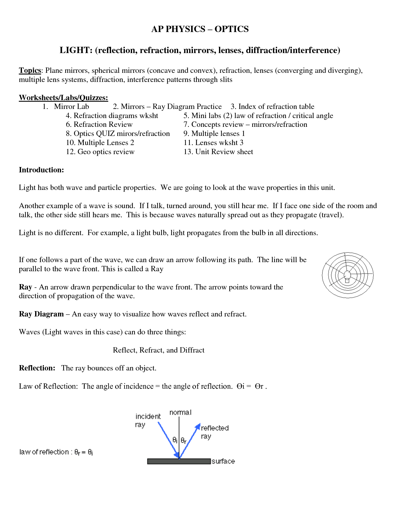 15 Best Images Of Refraction Of Light Worksheet