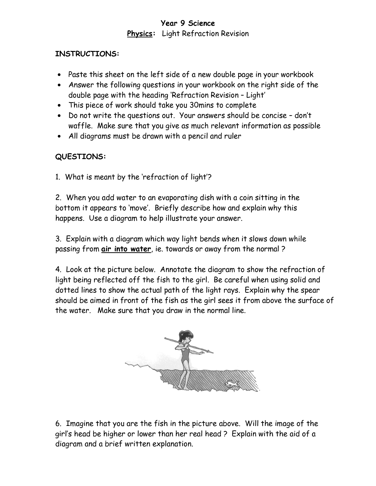 Light Refraction Worksheet Answers