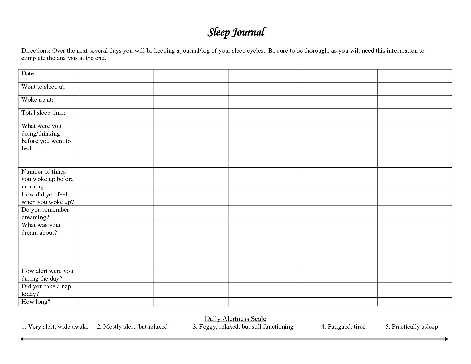 18 Best Images Of Sleep Log Worksheet