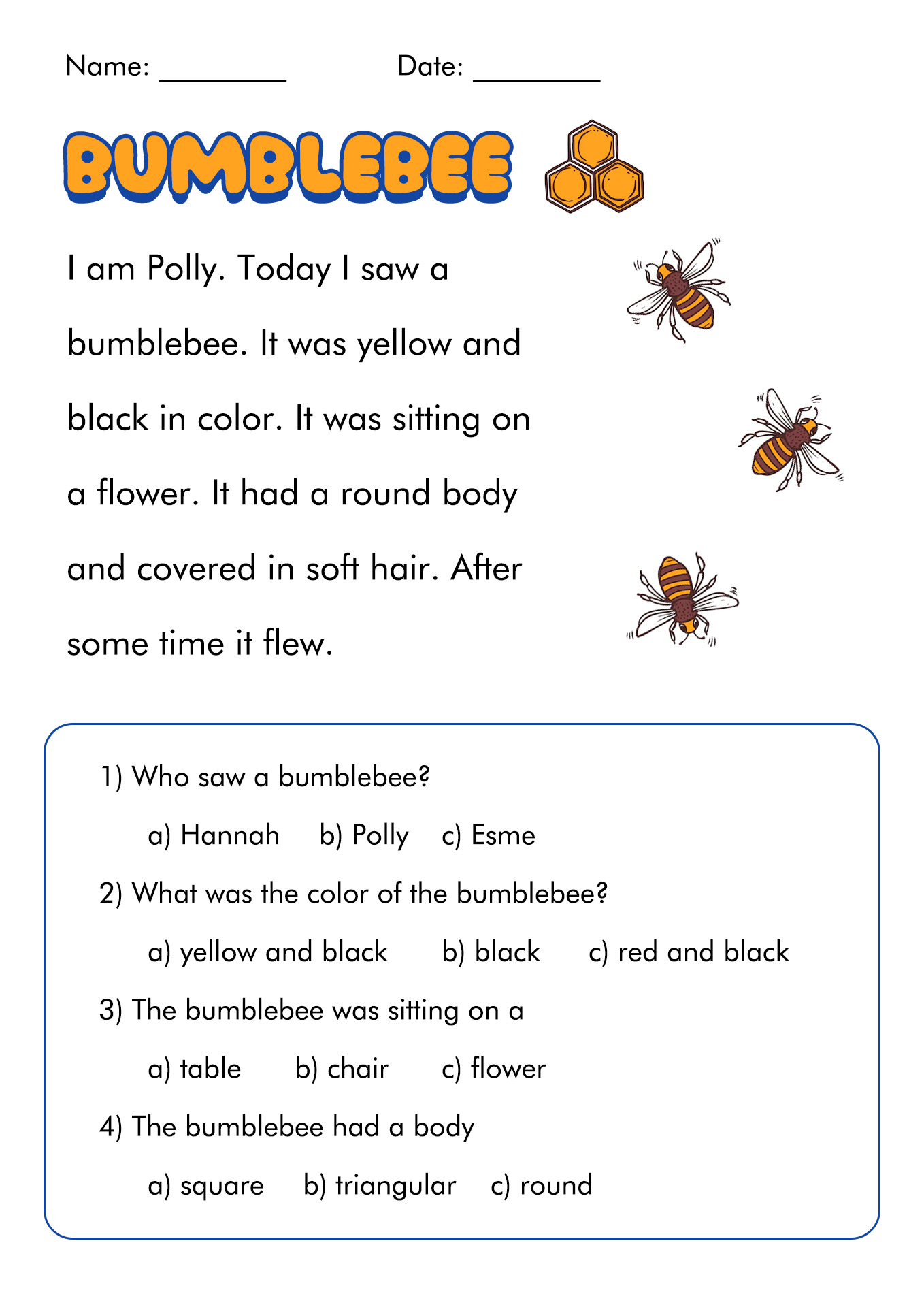 15 Best Images Of Short Reading Comprehension Worksheets