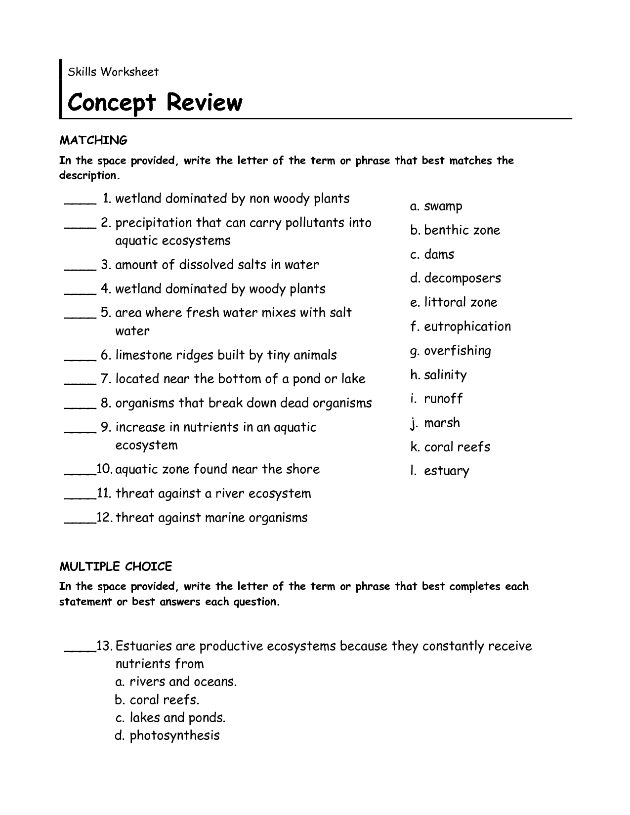 8 Best Images Of Biomes And Ecosystems Worksheet Outline