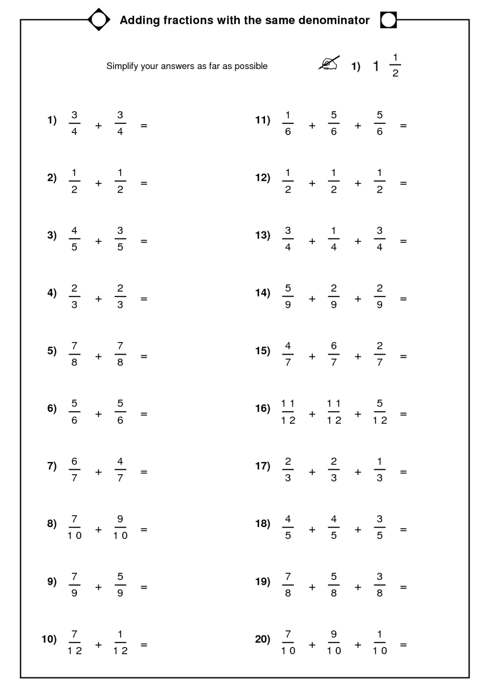 medium resolution of Adding Fractions With Same Denominator Worksheet   Printable Worksheets and  Activities for Teachers