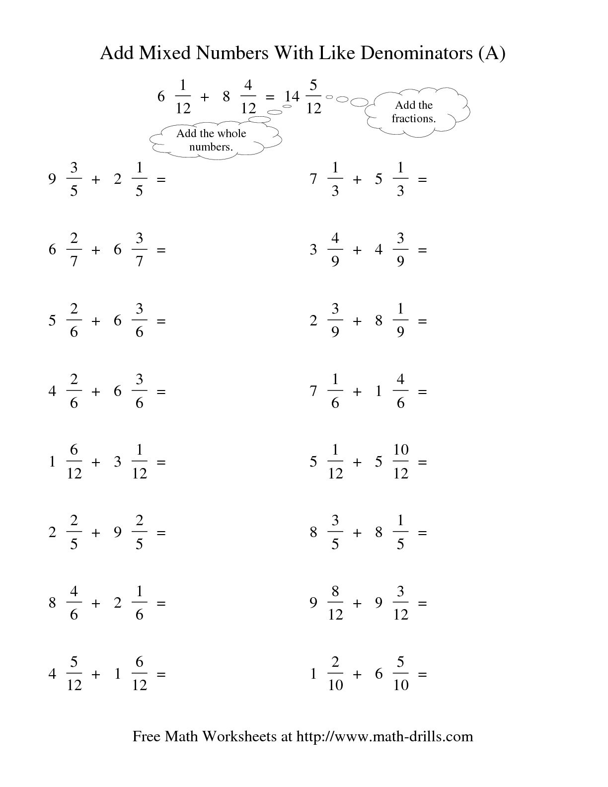 12 Best Images Of Worksheets Adding Fractions With Unlike