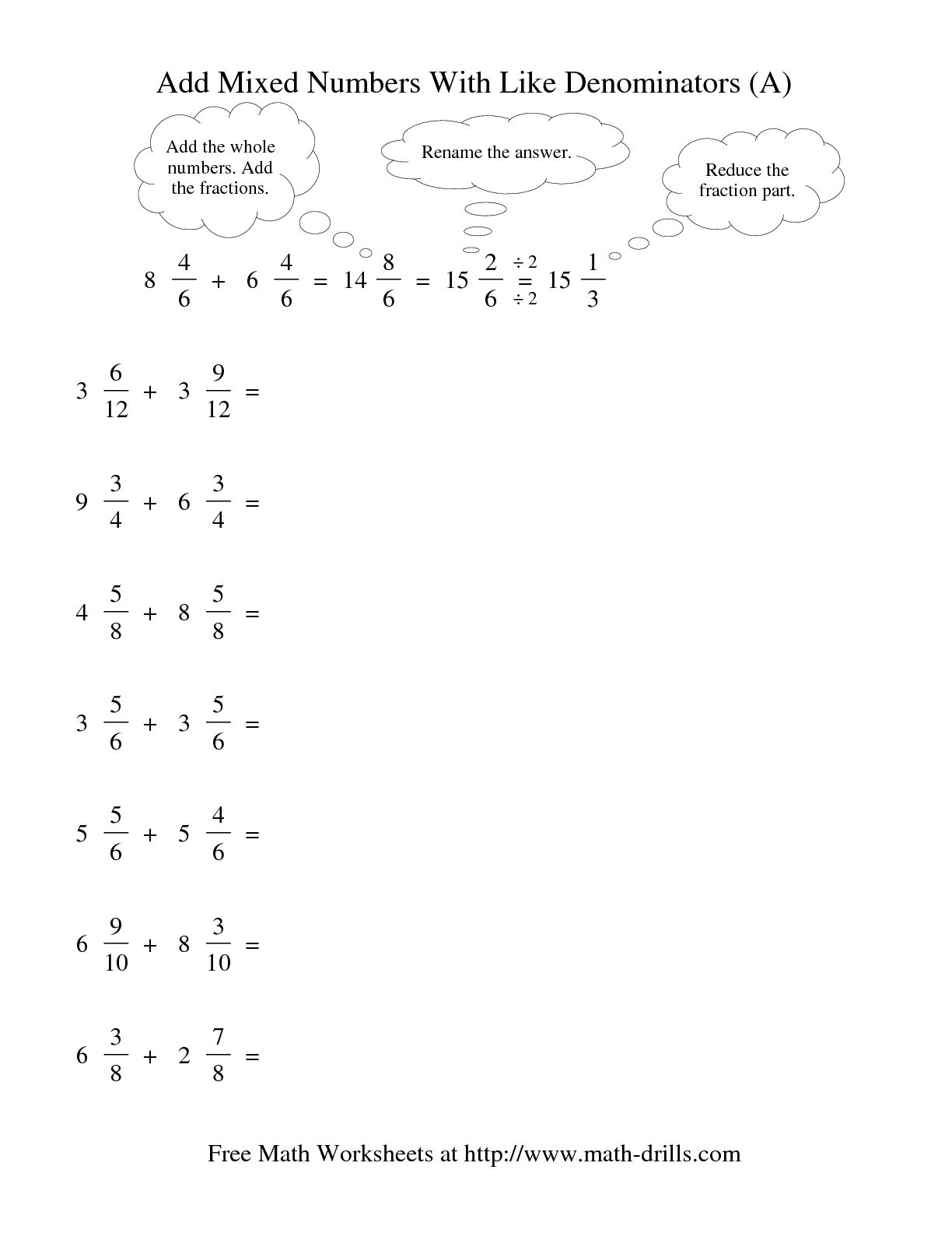 Fractions With Like Denominators Worksheet