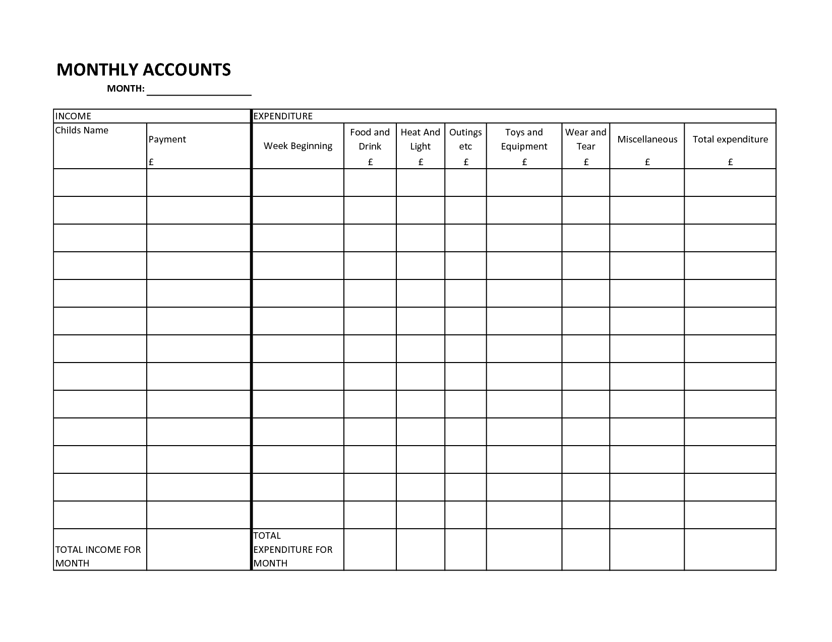 18 Best Images Of Free Monthly Household Budget Worksheet