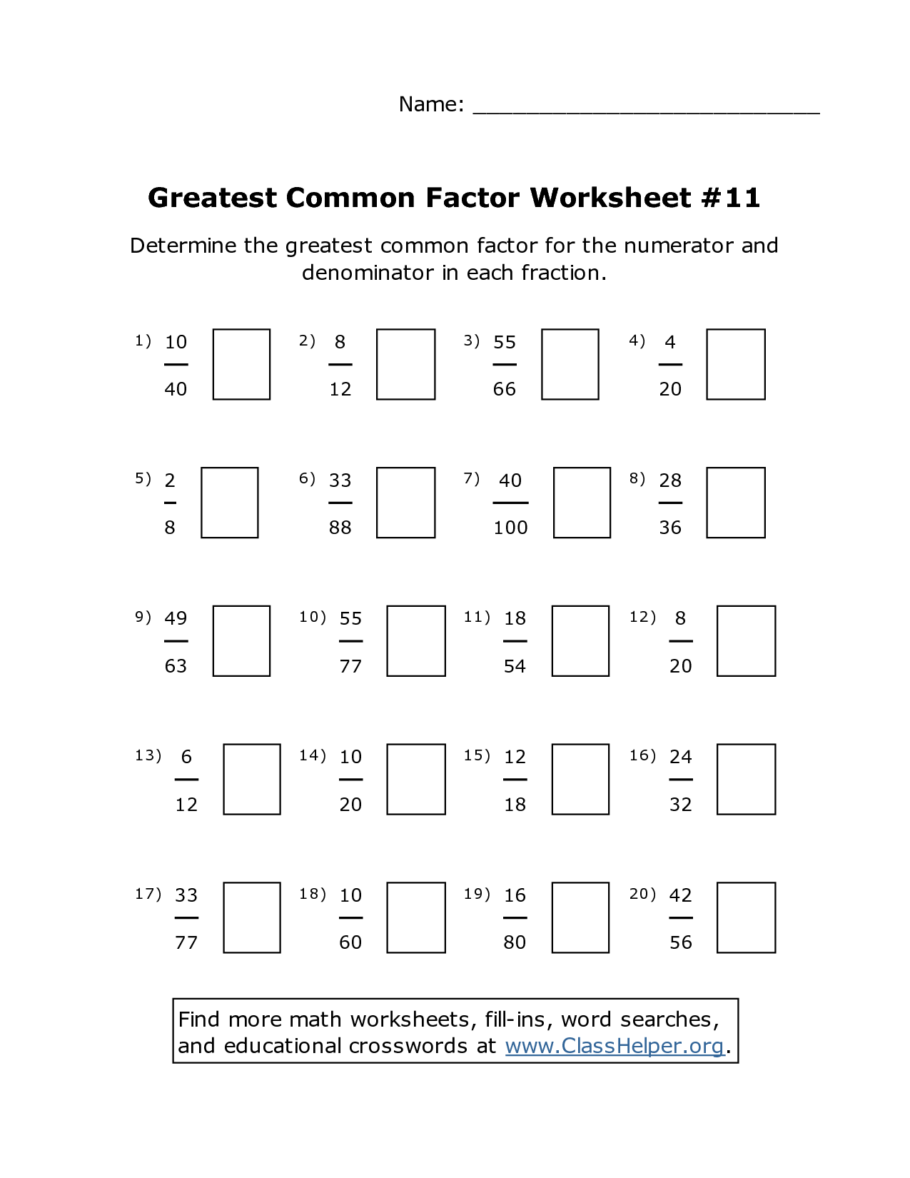 10 Best Images Of Fractions Greatest Common Factors Worksheet