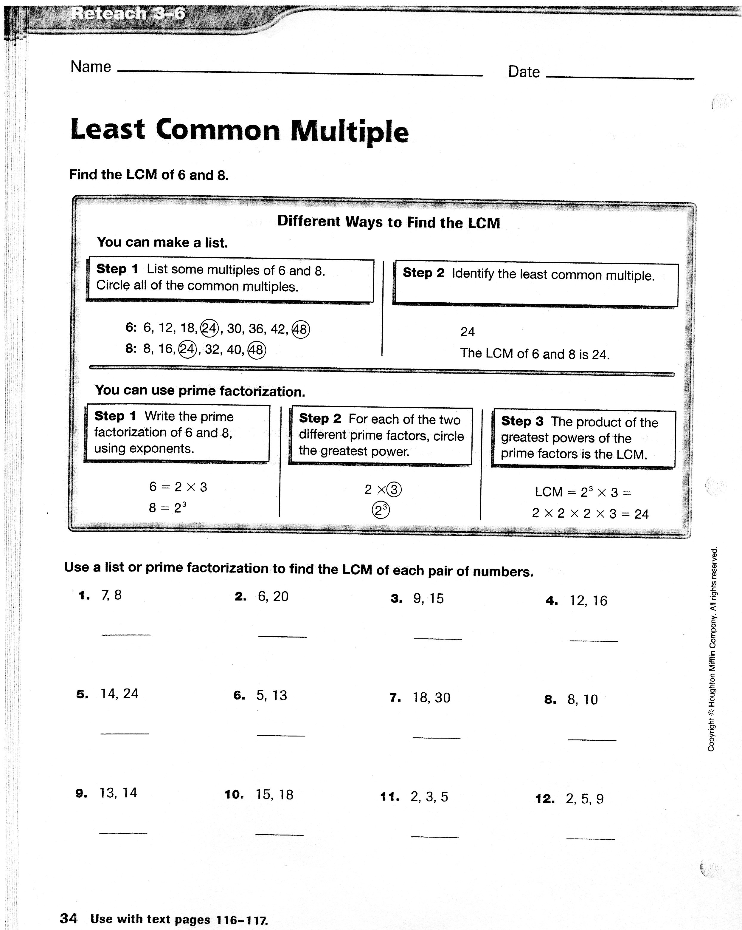 Worksheet Least Common Multiple Denominator