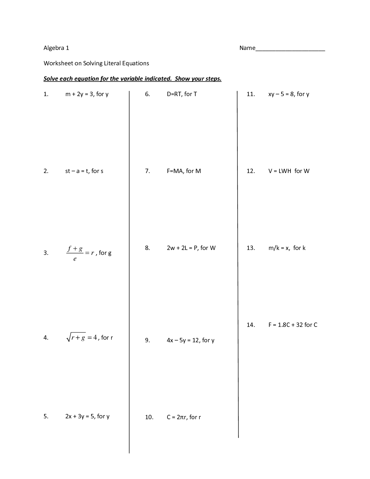 Solving Equations With Variables On Both Sides Practice Worksheet