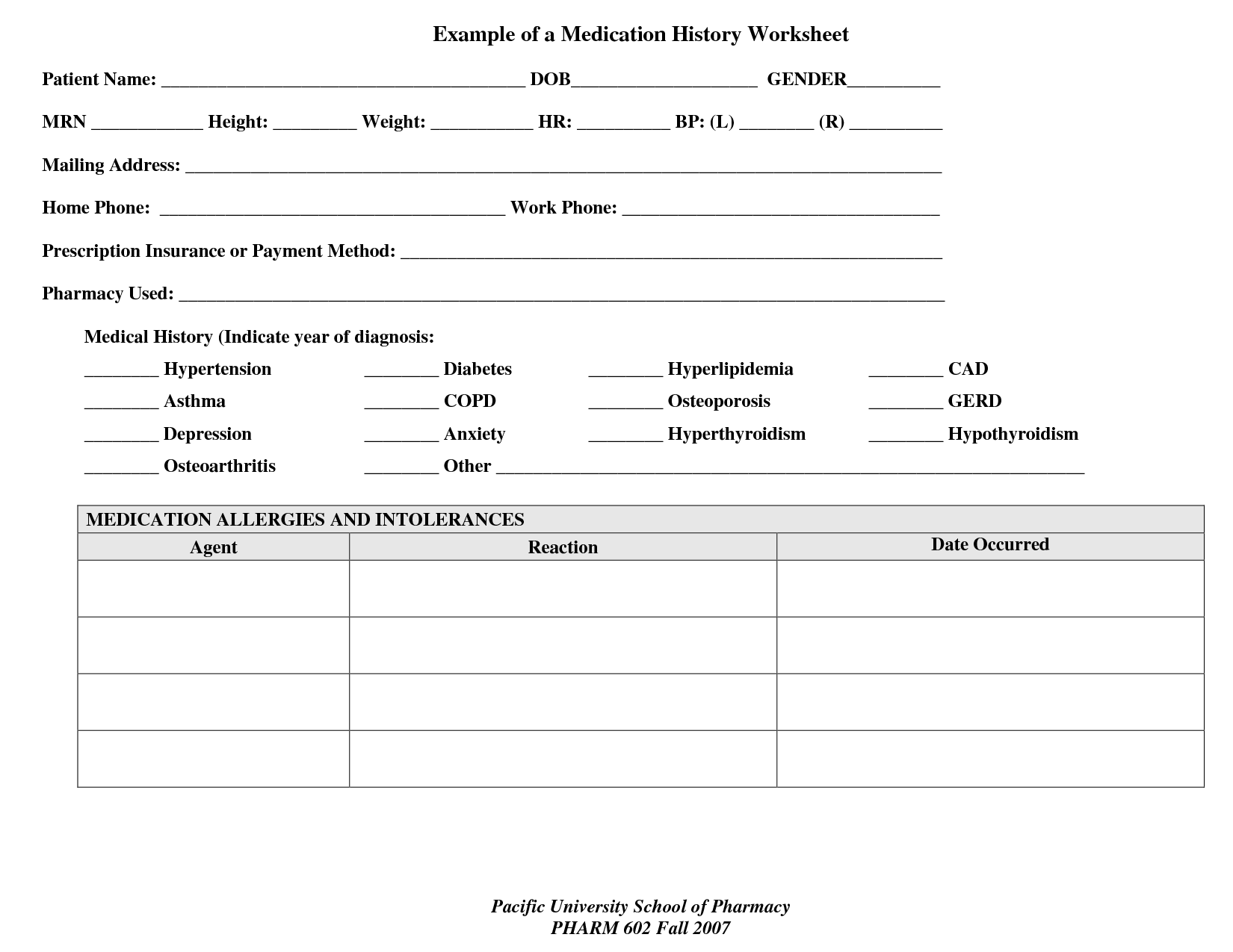 Medication Management Worksheets For Adults Pictures To Pin