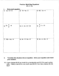 Solving Multi Step Equations Worksheet 8th Grade - math ...