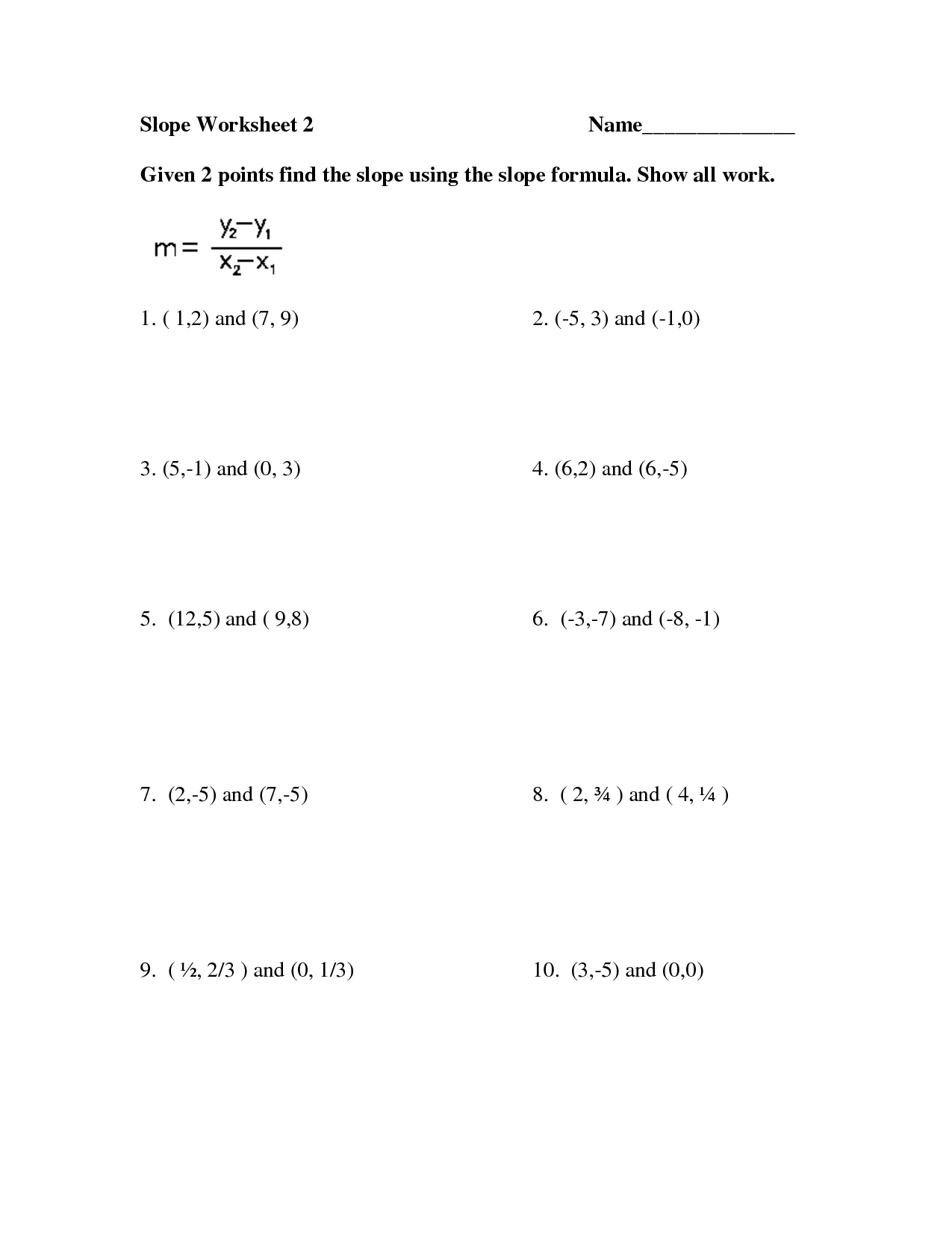 14 Best Images Of Equation Of Line Worksheets