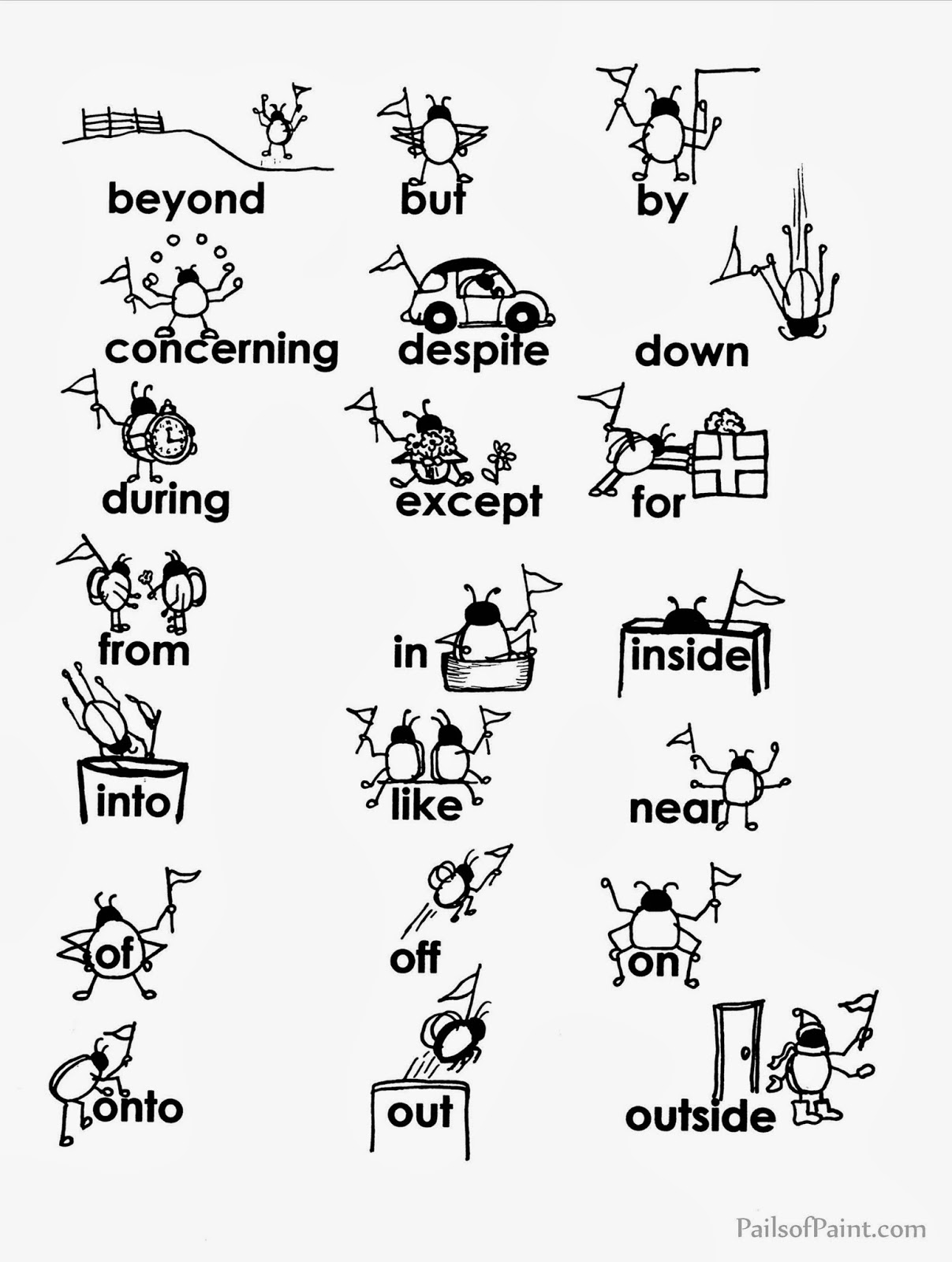 Prepositions Coloring Worksheet