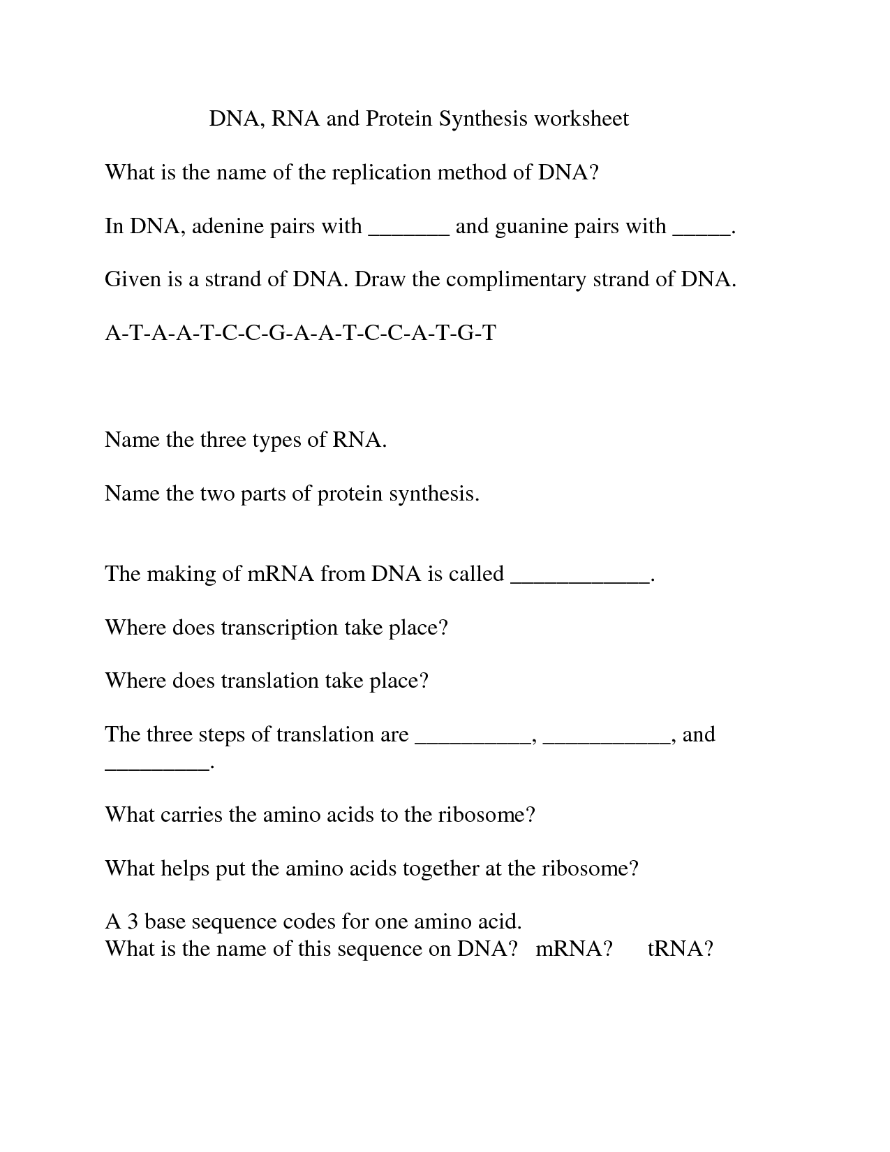 16 Best Images Of Dna And Rna Protein Synthesis Worksheet Answers