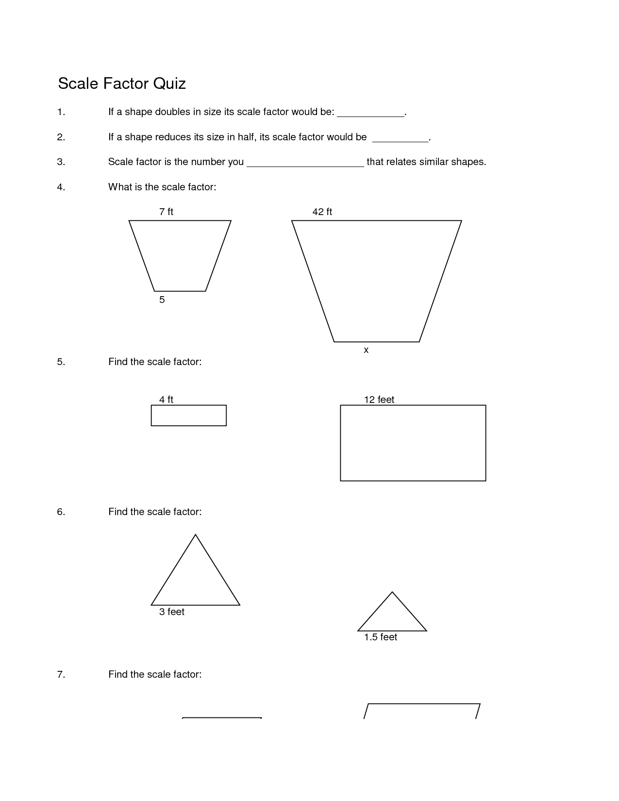 Math Worksheet Scale Drawing
