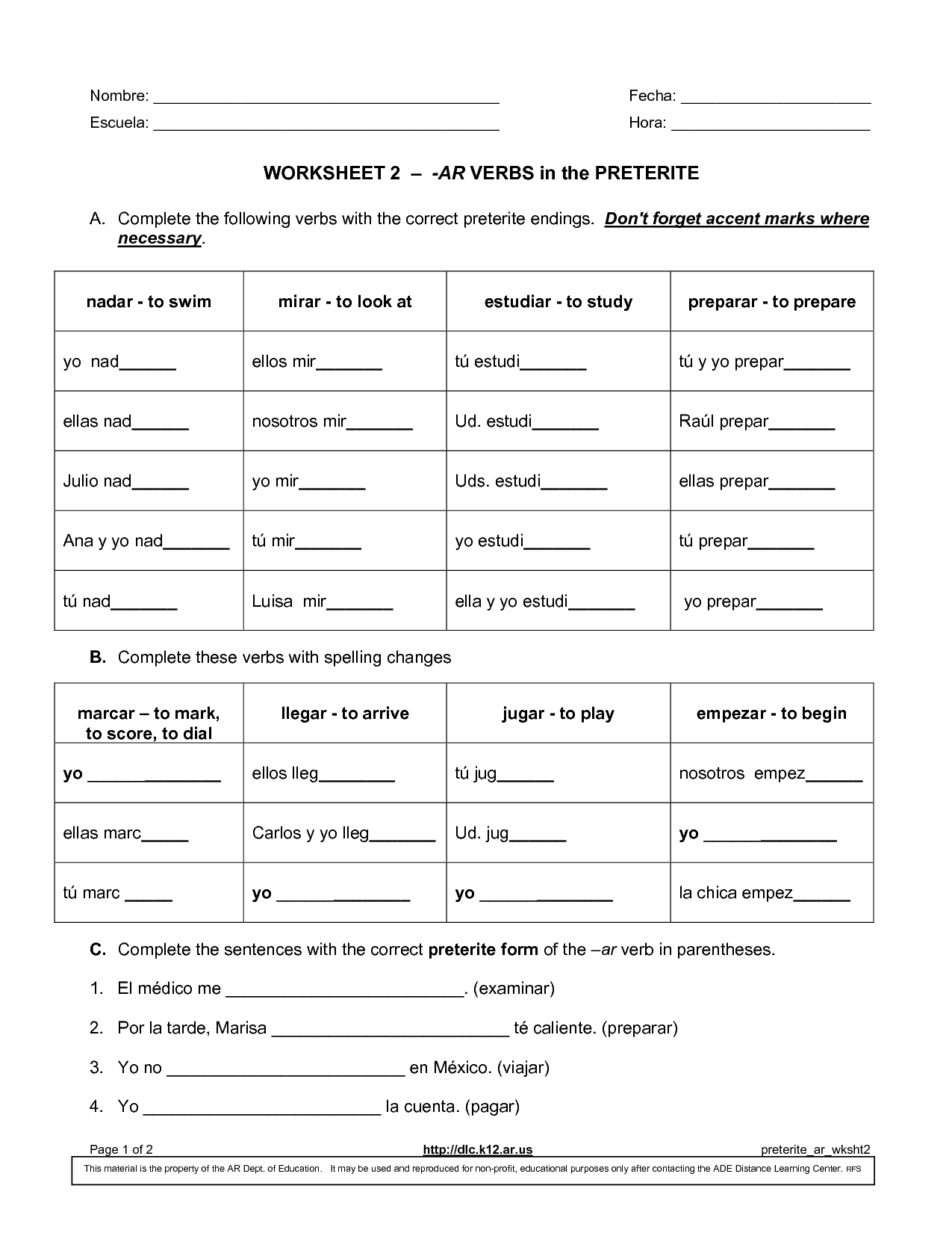Worksheet 2 Ar Verbs In The Preterite Answers