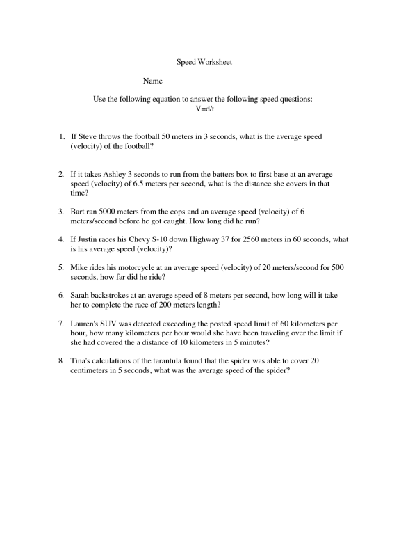 17 Best Images of Speed Formula Worksheet Speed and